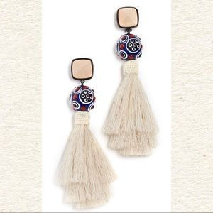 NWT Bead & Tassel Clip On Earrings